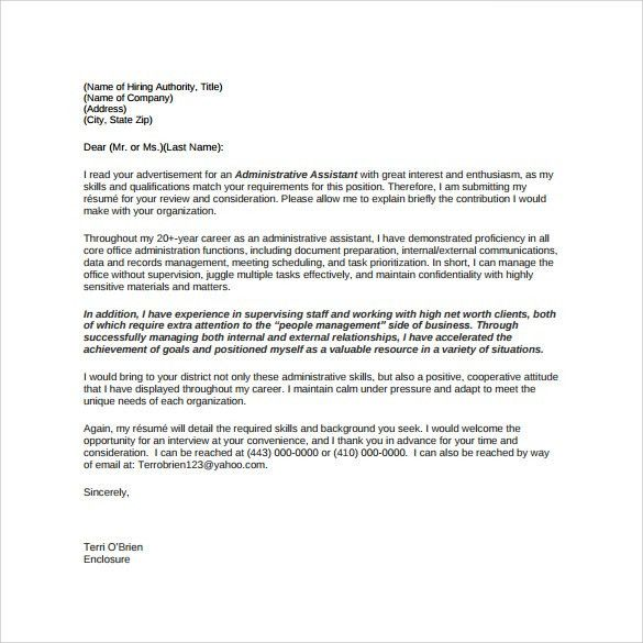 Sample Administrative Assistant Cover Letter Template   8+ Free .