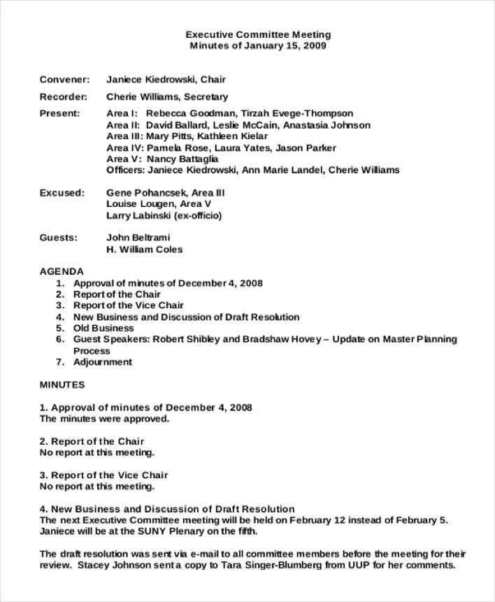 Committee Report Template. Finance Committee Meeting Minutes ...