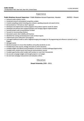 Public Relations Account Supervisor Resume Sample | Velvet Jobs