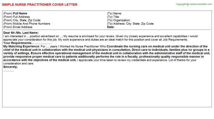 Womens Health Nurse Practitioner Cover Letters