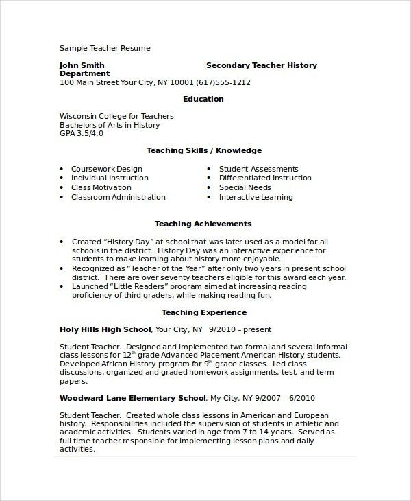 Academic Resume Template - 6+ Free Word, PDF Document Downloads ...