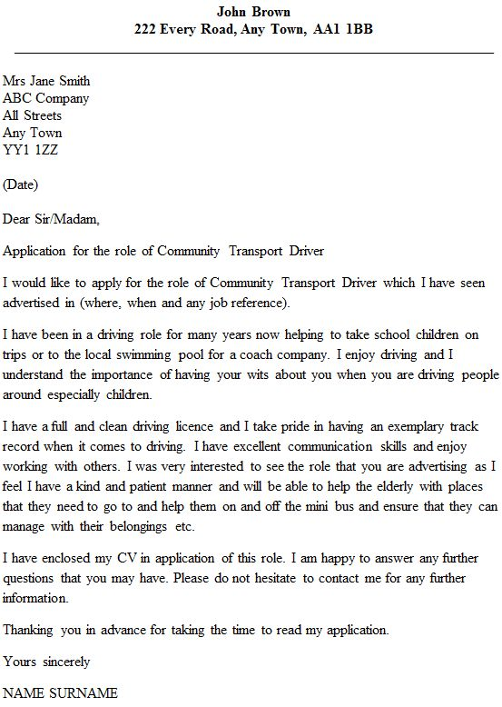 Community Transport Driver Cover Letter Example - icover.org.uk