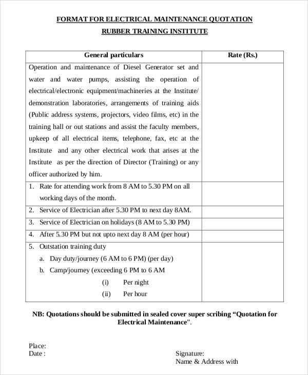 Standard Quotation Form. Quotation Sample 2 Tips In Writing A ...