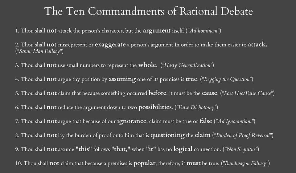 The 10 Commandments of Rational Debate (...Know Thy Logical Fallacies)
