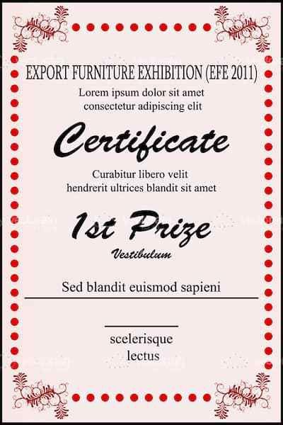 1st prize certificate template illustration of sample certificate 1st prize certificate template with sample text vectorjunky yadclub Images