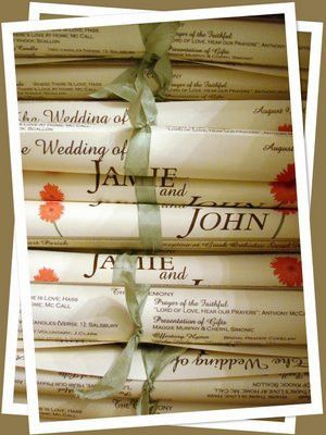 One Page DIY Wedding Programs: The Scroll