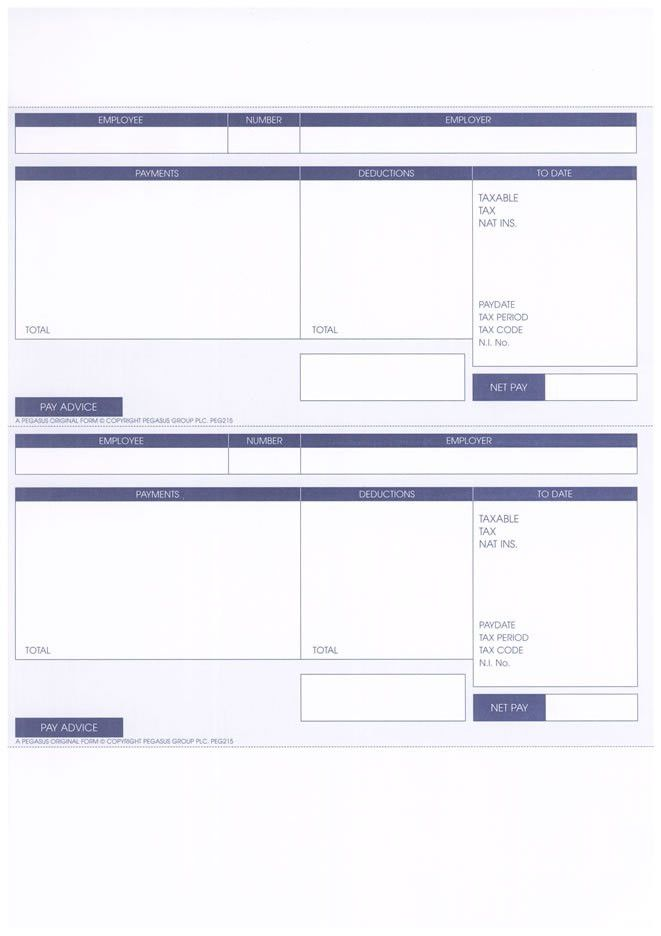 PEG215 - PEGASUS ORIGINAL 1 PART A4 LASER PAYSLIP - 2 PER SHEET ...