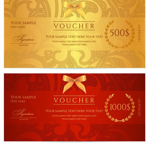 Exquisite vouchers template design vector set 05 - Vector Card ...