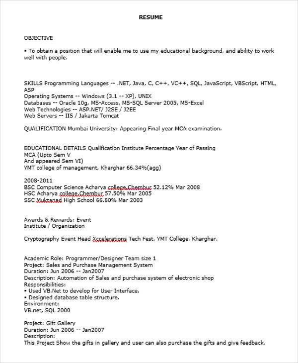 40+Fresher Resume Examples