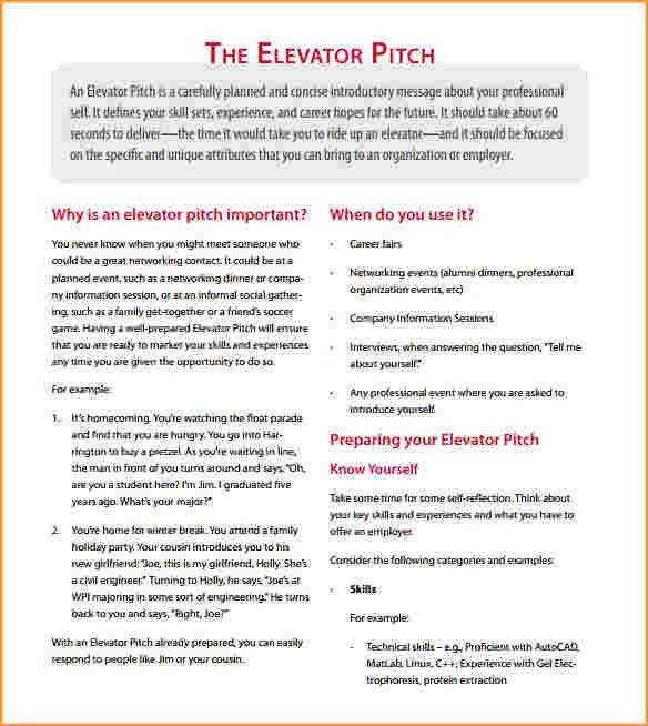 elevator pitch example