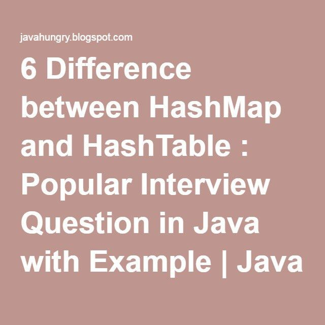 6 Difference between HashMap and HashTable : Popular Interview ...