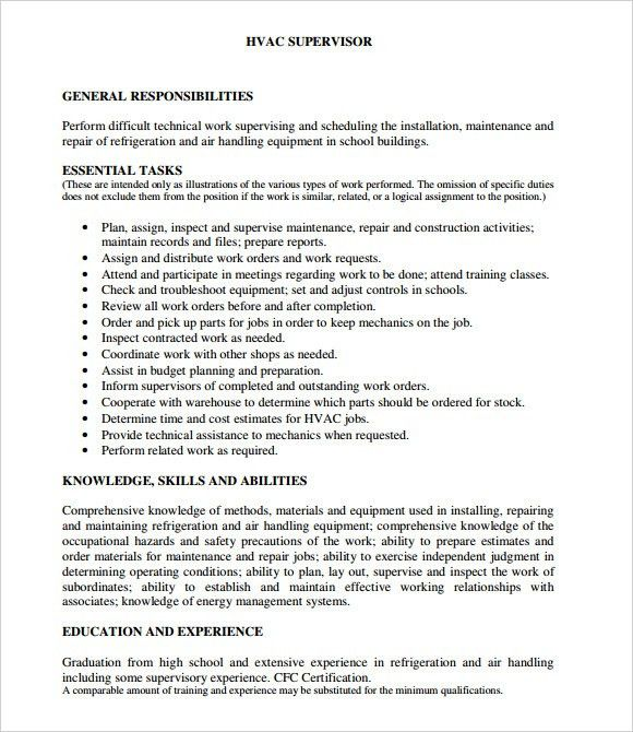 HVAC Resume – 8+ Free Samples , Examples , Format