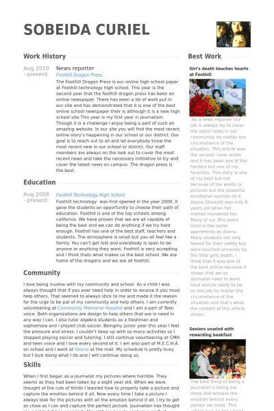 News Reporter Resume samples - VisualCV resume samples database