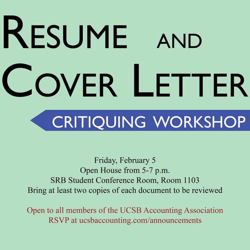 Workshop: Resume and Cover Letter Critiquing - UNDERGRADUATE ...