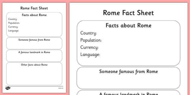 Rome Factsheet Writing Template - rome, rome fact sheet, rome