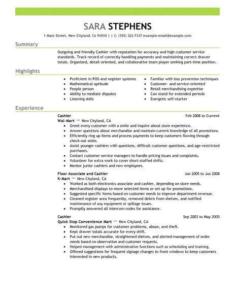 example of cashier resume unforgettable part time cashiers resume