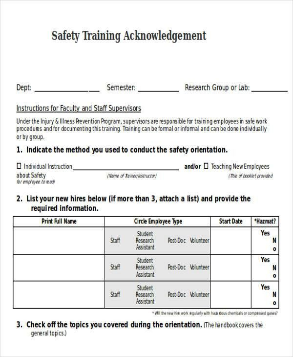 Training Acknowledgement Letter Templates - 5+ Free Word, PDF ...