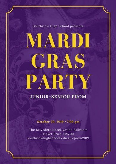 Purple and Yellow Mask Mardi Gras Prom Poster - Templates by Canva