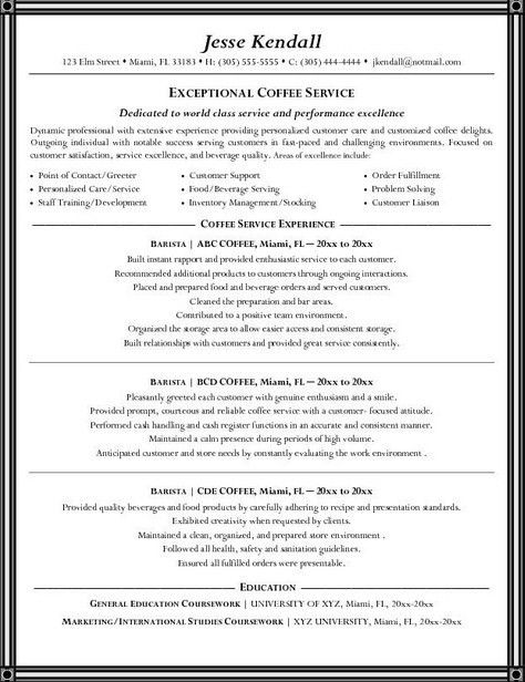 Barista Resume Job Description Sample | Resume Cover Letter Template