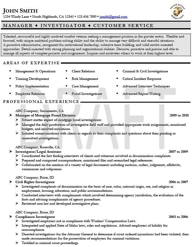 Military Resume Examples. Example Of Military Resume Military ...