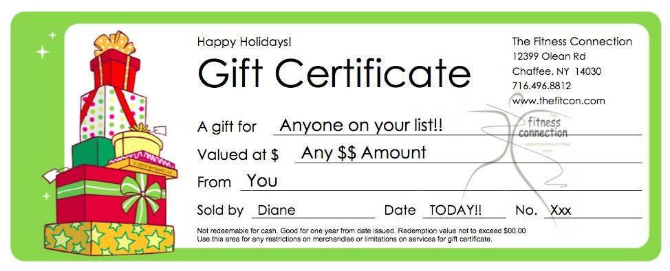 The Fitness Connection - gift certificates