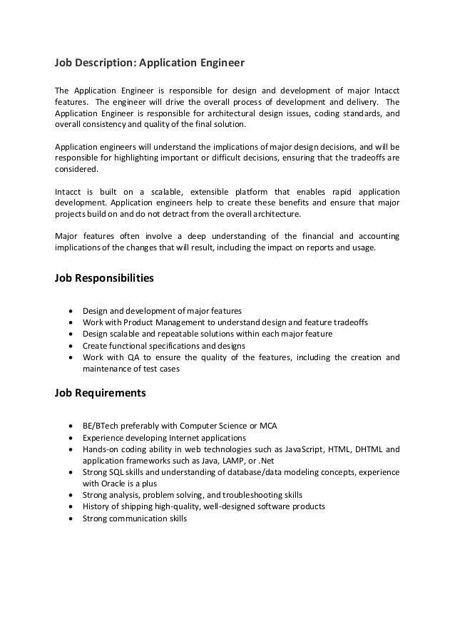 Job description application engineer - new