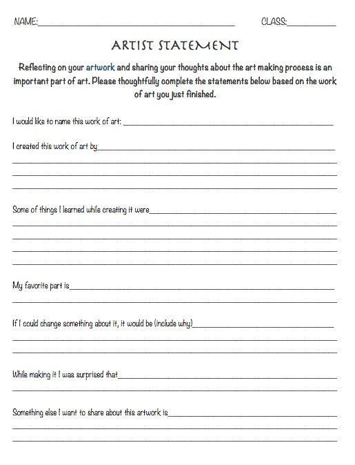 Resource: Artist Statement Worksheet - reflection sheet art ...