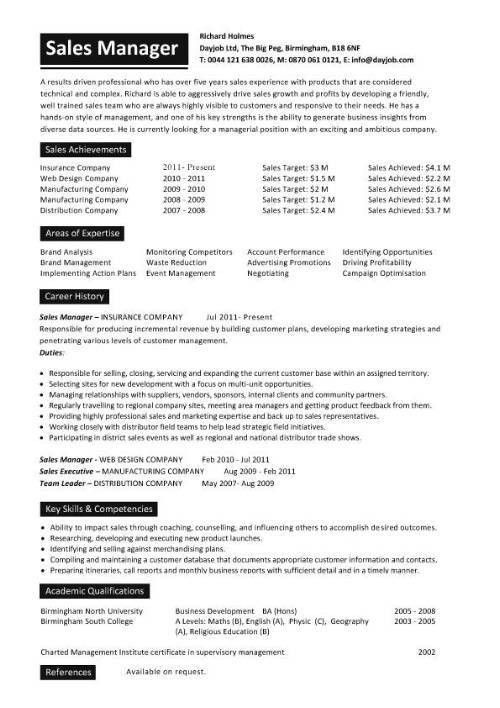 sales resume sales manager cv example sales manager resume sample ...