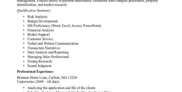 mortgage underwriter resume sample underwriter resume sample ...