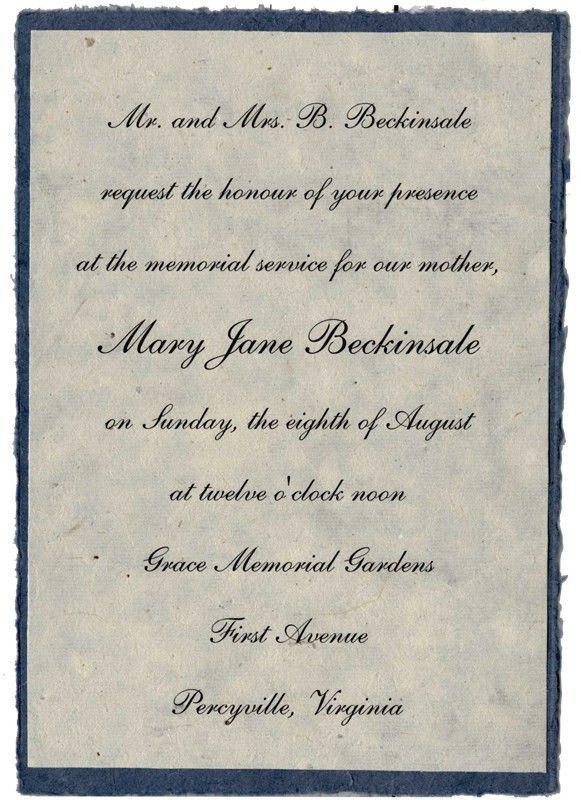 Memorial Invitations - Handmade - seed paper, pressed flowers ...