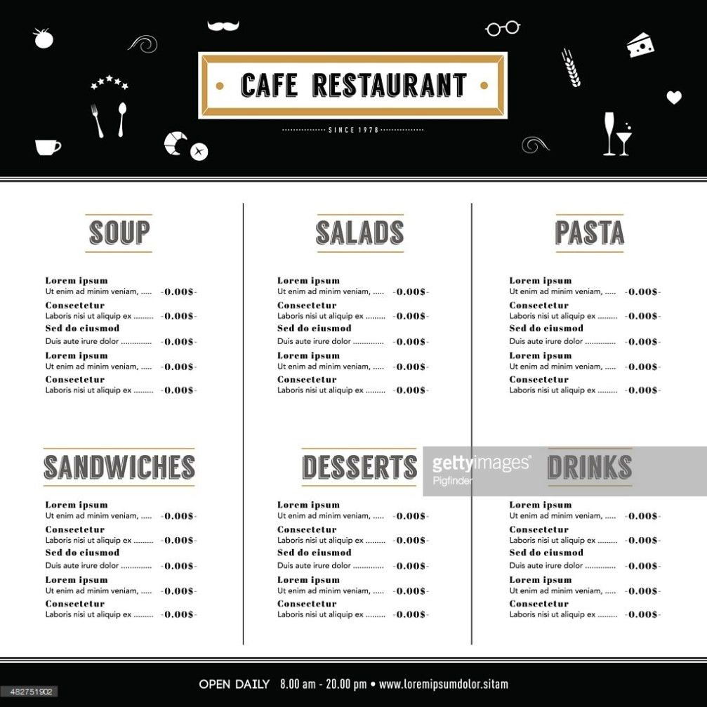 Restaurant Menu Design Template Layout Hipster Style Graphic ...