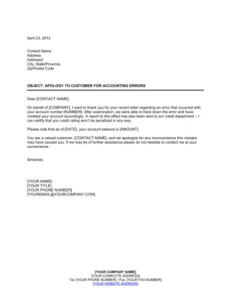 Apology to Customer for Accounting Error - Template & Sample Form ...