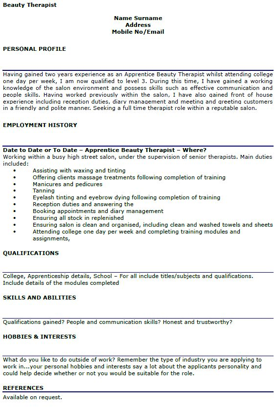 9 Beauty Therapist CV Sample Resume beautician cv sample. hair and ...
