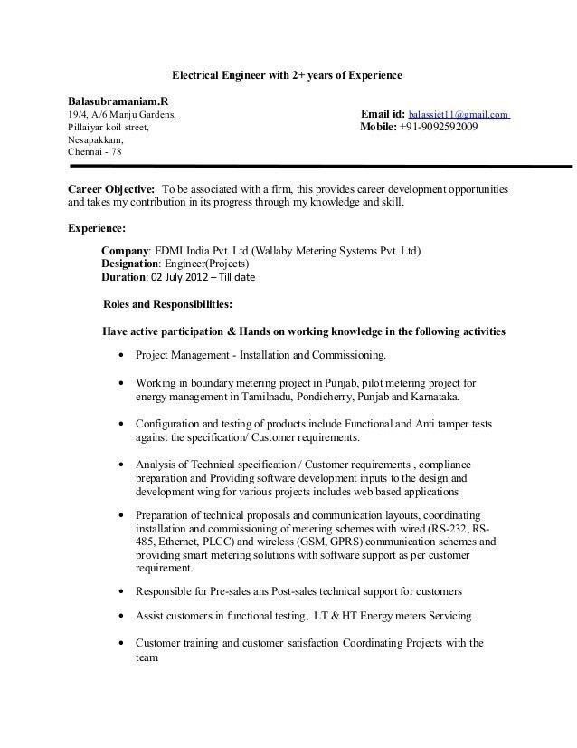 Electrical Engineer Resume with 3 years experience