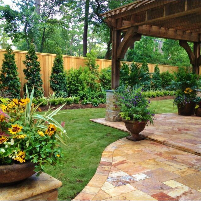 Patio Pergola Screening With Evergreens Along Back Fence. | Patio Design  Ideas / Examples | Pinterest | Backyard Landscaping, Houzz And Evergreen