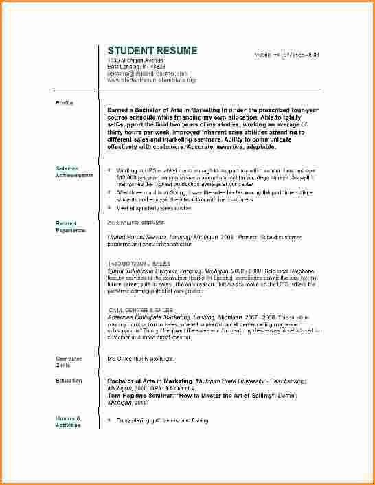 Resume Templates For College Students. resume examples with little ...