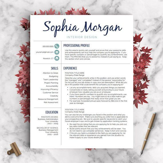 Creative Resume Template Resume for Word and Pages 1 2 &