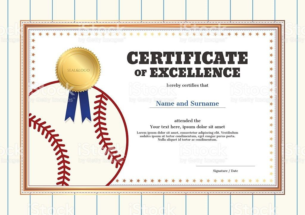 Certificate Of Excellence Template In Sport Theme For Baseball ...
