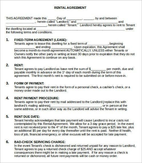 Room Rental Agreement Form. Blank-Rental-Agreement-Template Rental ...