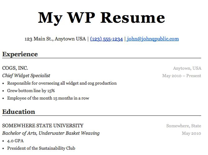 WP Resume — WordPress Plugins