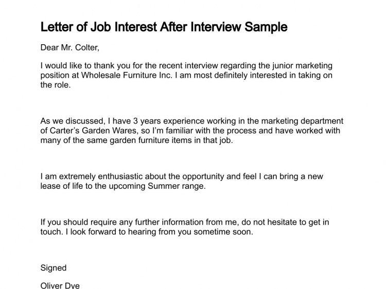 Letter of Job Interest
