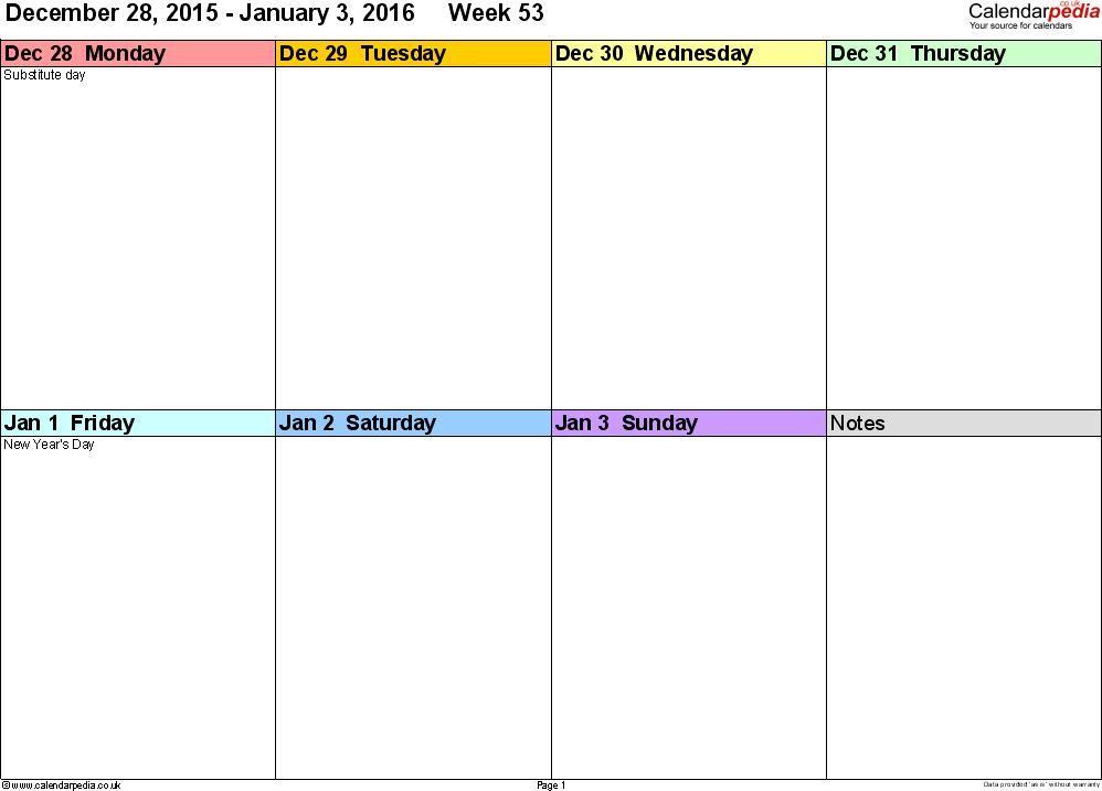 Weekly calendar 2016 UK - free printable templates for Word