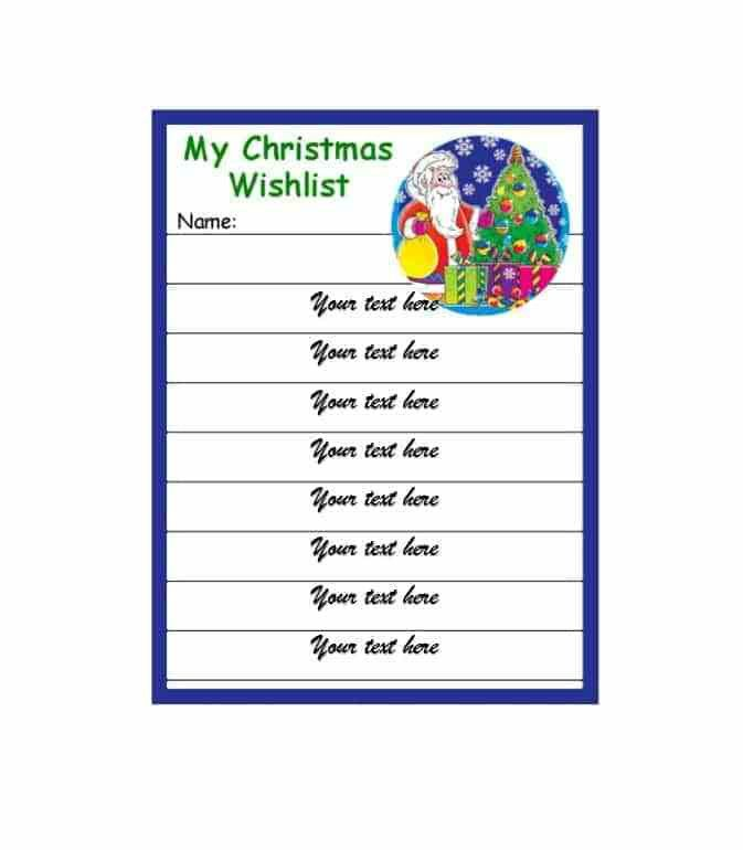 Christmas Wish List Templates - Contegri.com