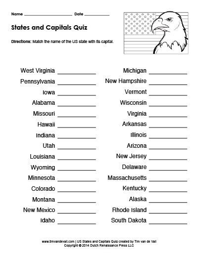 Printable US States and Capitals Quiz | Practice Test PDF