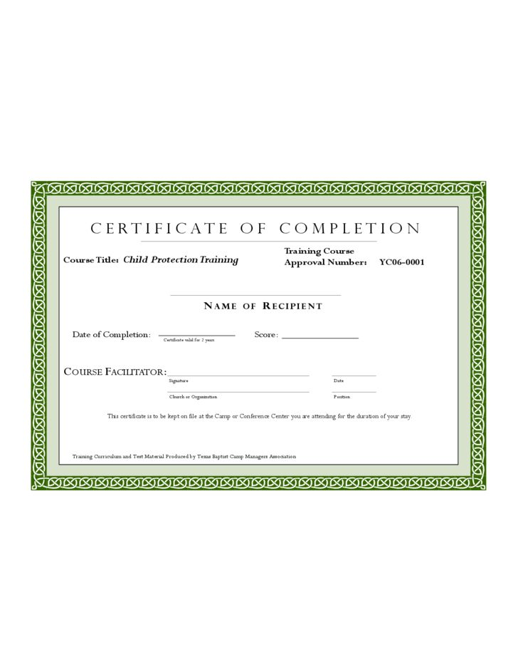 Sample Training Completion Certificate Template Free Download