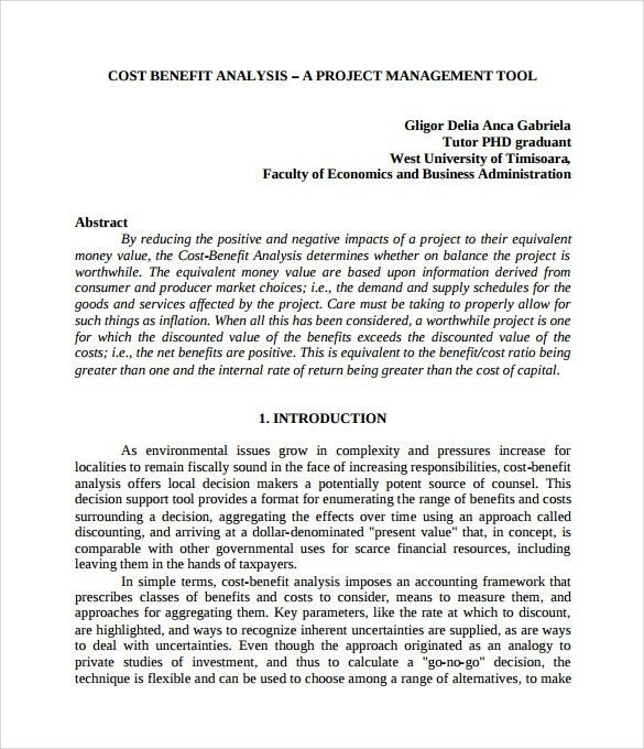 Cost Benefit Analysis Template - 13+ Download Free Documents in ...