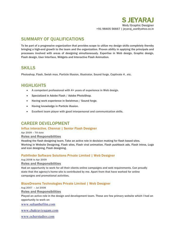 Flash designer resume, jeyaraj Flash designer resume, Flash 2D ...