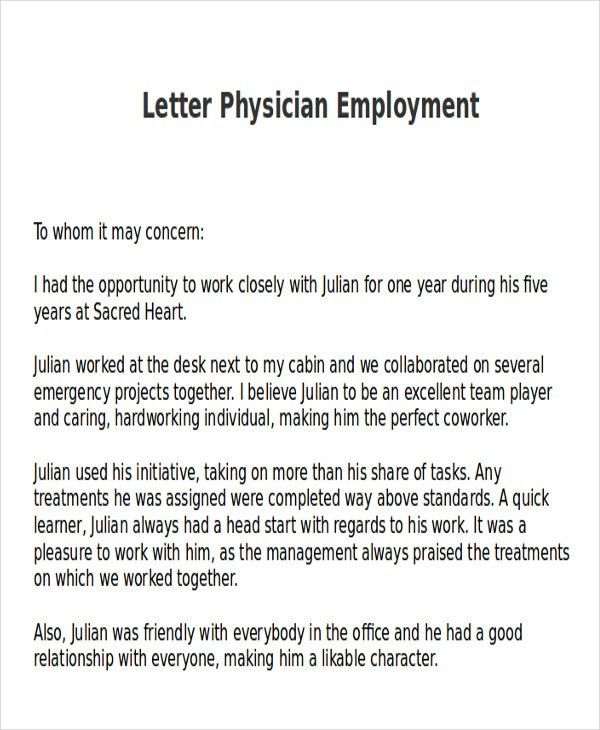 Ideas Collection Recommendation Letter Medical Doctor Also Service ...
