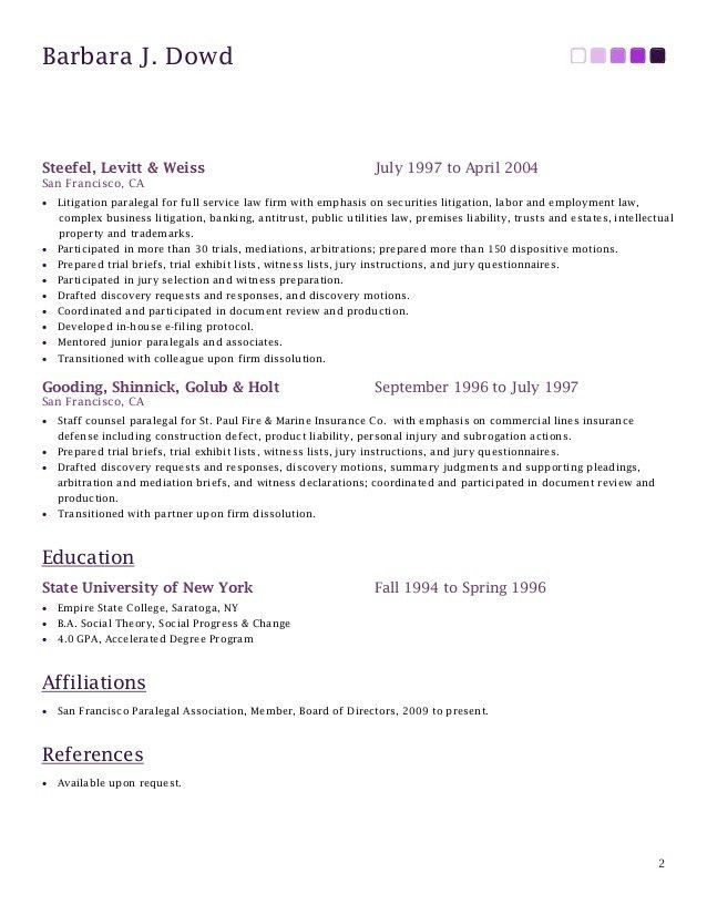 Resume of Barbara J. Dowd