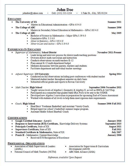 School Administrator Resume Example - Adjunct Supervisor